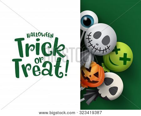 poster of Halloween Trick Or Treat Candy Vector Background Template. Halloween Trick Or Treat Text In White Em