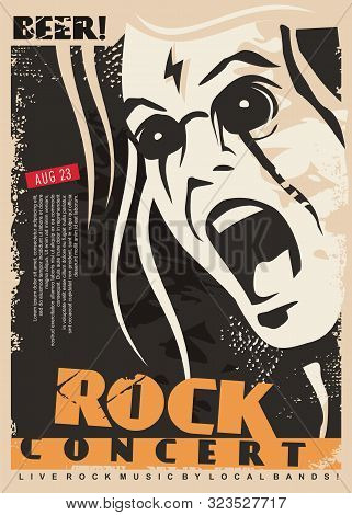 poster of Rock Concert Poster Design Template With Mad Singer Portrait. Man Singing Rock Music Event Flyer Lay