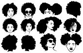 Set Of Female Afro Hairstyles. Collection Of Dreads And Afro Braids For A Girl. Black And White Illu poster
