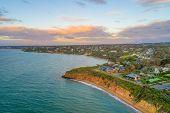 Daveys Bay Beach On Mornington Peninsula Coastline At Sunset - Aerial View poster