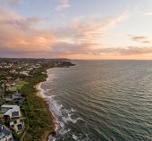 Aerial View Of Beautiful Coastline Of Port Phillip Bay In Melbourne, Australia At Sunset poster