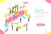 Isometric Flat Vector Landing Page Template Of Brand Awareness Campaign. poster
