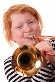 stock photo of children playing  - Young girl playing a trombone on white background - JPG