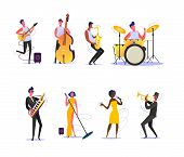 Set Of Musicians Performing On Scene. Group Of Musicians Singing And Playing Musical Instruments. Pe poster