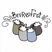 Beer Fest Logo. Hand Drawn Beer Mugs With Beer Fest Hand Lettering. Isolated Design Elements poster