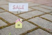 Sale Sign With Small Model House - Real Estate Buying Concept.copy Space. Home And Life Concept. Sma poster