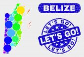 Spectrum Dot Belize Map And Seal Stamps. Blue Rounded Let S Go Exclamation Distress Seal Stamp. Grad poster