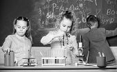 School Girls Study. Explore Biological Molecules. Future Technology And Science Concept. Kids In Cla poster