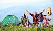 Hike Picnic. Friends Enjoy Vacation. Pleasant Hike Picnic. People Eating Food. Camping Concept. Yout poster