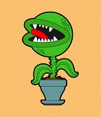 Flytrap In Pot. Flower Predator Carnivorous Plant. Angry Flowers With Teeth poster