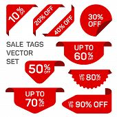 Red Discount Sale Labels Set. Vector Tag, Promo Badge, Sticker Off Templates. Promo Icons, Product S poster