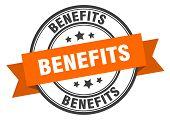 Benefits Label. Benefits Orange Band Sign. Benefits poster