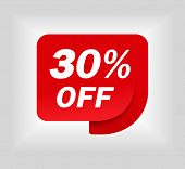 Label Sale Of Special Offer. Red Promo Sticker Of Discount. Icon Tag For Retail. Red Label For Sale  poster