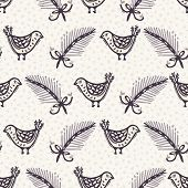 Seamless Pattern. Hand Drawn Christmas Robin Bird Background. Frosty Fir Snowflakes All Over Print.  poster