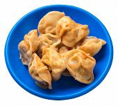 Dumplings On A Blue Plate Isolated On White Background. Dumplings In Tomato Sauce. Dumplings Top Vie poster