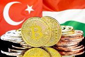 Concept For Investors In Cryptocurrency And Blockchain Technology In The Turkey And Hungary. Bitcoin poster