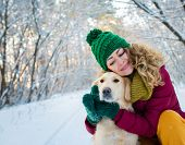 Smiling Woman Hugging Her Pet Dog Golden Retriever Near Face. Golden Retriever Playing With A Woman  poster
