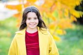 Upcoming Events. Autumn Beauty. Girl Smiling Face Walking In Park. Trendy Girl In Autumn Coat. Weath poster