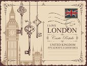 Retro Postcard With Big Ben In London, United Kingdom. Vector Postcard In Vintage Style With Old Key poster