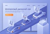 Unmanned Personal Car Banner, Artificial Intelligence Control Vehicle With Passengers Sitting In Coc poster