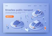 Driverless Public Transport Banner, People Visit Show Room Exhibition With Unmanned Auto Transport A poster