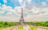 Eiffel Tower With Flowing Trocadero Fountains, Paris, France, Toned poster