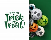 Halloween Trick Or Treat Candy Vector Background Template. Halloween Trick Or Treat Text In White Em poster
