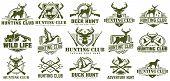 Collection Of Hunting Logo, Vector Set Of Hunt Label, Badge Or Emblem, Duck And Deer Hunt Logo poster