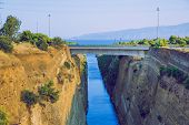 Corinth Canal, Greek Republic. Canal, Rocks And Sun. Urban City. 14. Sep. 2019 poster