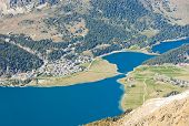 foto of engadine  - Aerial view on Lake Silvaplana with the summer hiking resort Silvaplana near St Moritz - JPG