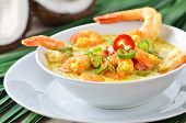 image of tiger prawn  - Hot coconut prawn soup with chili and curry - JPG