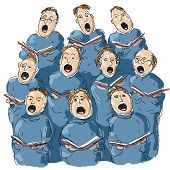 stock photo of glorify  - illustration of people singing in choir - JPG