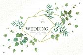 Wedding Greenery Frame. Invitation Card Template Design With Rustic Eucalyptus Branches And Green Le poster