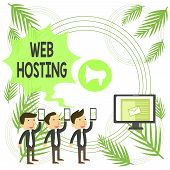 Text Sign Showing Web Hosting. Conceptual Photo The Activity Of Providing Storage Space And Access F poster