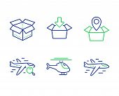 Open Box, Helicopter And Get Box Line Icons Set. Package Location, Search Flight And Airplane Signs. poster