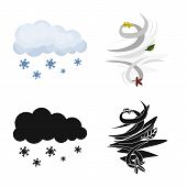 Vector Illustration Of Weather And Climate Icon. Collection Of Weather And Cloud Vector Icon For Sto poster