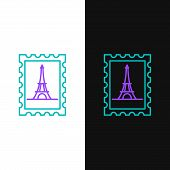 Green And Purple Line Postal Stamp And Eiffel Tower Icon Isolated On White And Black Background. Vec poster
