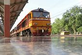Diesel Train At Railway Station.diesel Locomotive Is A Type Of Railway Locomotive In Which The Prime poster