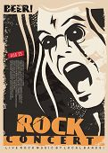 Rock Concert Poster Design Template With Mad Singer Portrait. Man Singing Rock Music Event Flyer Lay poster