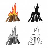 Isolated Object Of Campfire And Fiery Logo. Collection Of Campfire And Blaze Vector Icon For Stock. poster