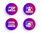 Web Analytics, Sales Diagram And Best Manager Icons Simple Set. Halftone Dots Button. Recovery Cloud poster