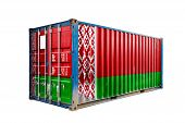 The Concept Of  Belarus Export-import, Container Transporting And National Delivery Of Goods. The Tr poster
