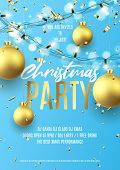 Merry Christmas Party Flyer Invite. Holiday Poster With Realistic Christmas Golden Balls, Golden Con poster