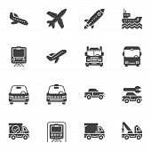 Transportation Vector Icons Set, Modern Solid Symbol Collection, Filled Style Pictogram Pack. Signs, poster
