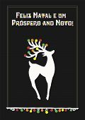 Vector Illustration With Beautiful Christmas Reindear, Text In Portuguese (portugal, Português) Feli poster