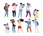Photographer Characters. Professional Videography And Photographers Standing With Cameras Vector Col poster