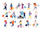 Shopping Characters. People In Market Boutique Store Buyers Discount Crazy Shopping Vector Persons.  poster