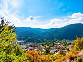 Scenic View Of A Mountain Valley In Autumn. Colourful Countryside Landscape With Mountain Forests An poster