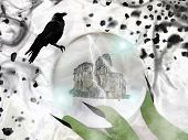 The Green Witch`s Hand With Pointed Black Fingernails Holds A Crystal Ball In Which There Are Castle poster