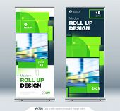 Green Business Roll Up Banner. Abstract Roll Up Background For Presentation. Vertical Roll Up, X-sta poster